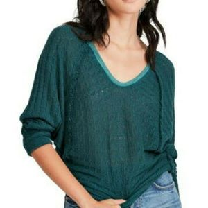Free People Thien's Hacci Top  Green Blue Doleman